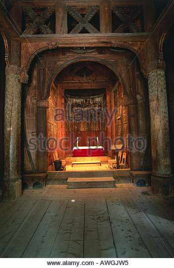 Norway, Bygdoy, Norsk Folkemuseum, Gol stave church, altar inside medieval 13th-century church, built in Hallingdal - Stock Image
