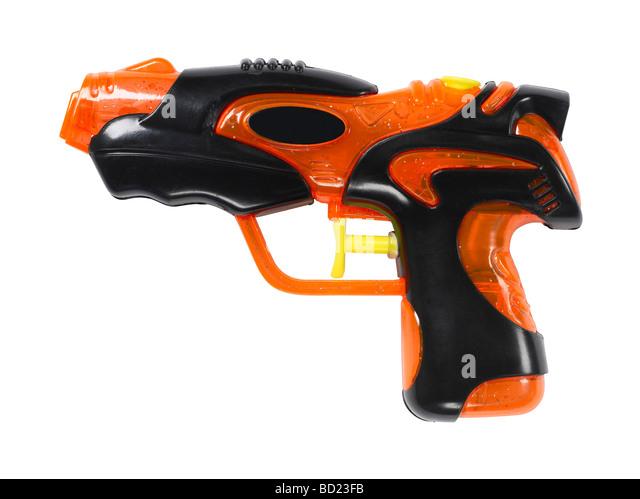 orange and black water gun - Stock Image