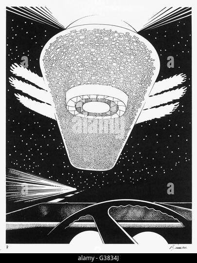 At Prince George, British  Columbia, Kirk Alore is  motoring at night when he  nearly collides with a UFO       - Stock Image