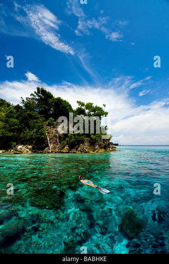 Snorkeling in Raja Empat, Papua, Indonesia, female diver, bikini, clear water, shallow water, fotosub, great visibility - Stock Image