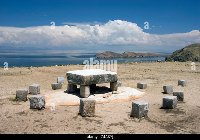 Chincana ruins, 15th-16th c, ceremonial table. - Stock Image