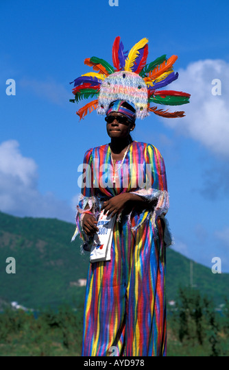 British Virgin Islands Emancipation Festival Woman Walking on Stilts Mocko Jumbi Dancer - Stock Image