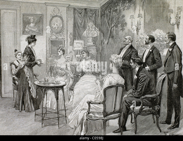 Meeting of aristocratic families in the living room. Engraving by George Scott, 1892. - Stock Image