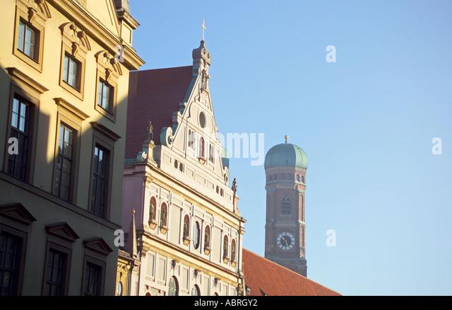 Europe Germany Bavaria Bayern Munich Kaufingerstrasse Michaelskirch and Frauenkirche beyond - Stock Image