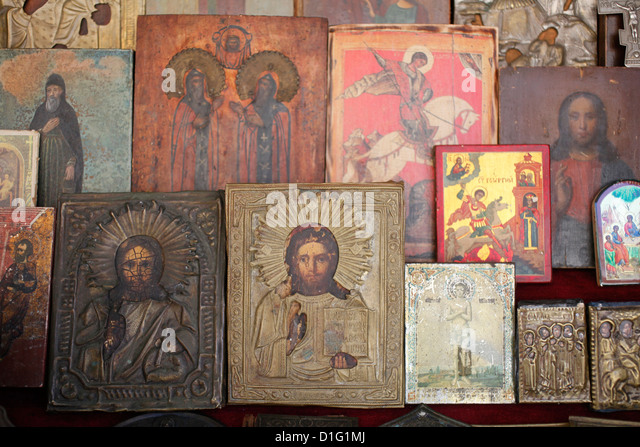 Orthodox icons, St. Petersburg, Russia, Europe - Stock Image