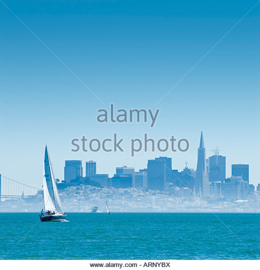 San Francisco from across the bay in Sausalito, California, USA - Stock Image