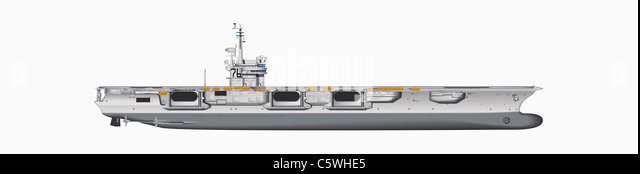 Illustration of aircraft carrier against white background, close up - Stock Image