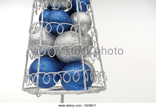 Blue And Silver Baubles Stock Photos Blue And Silver