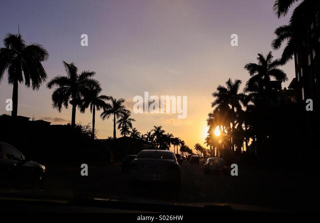 Sunset Miami - Stock Image