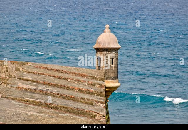 Puerto Rico sentry box or garita at Fort San Cristobal Old San Juan above the Caribbean sea - Stock Image