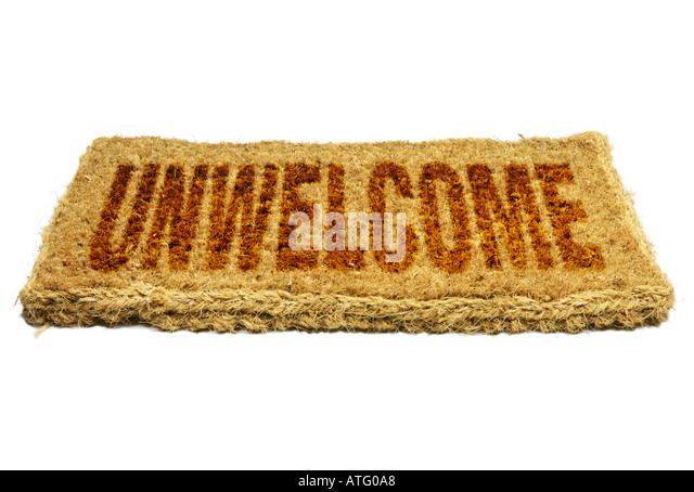 Coir Welcome Mat Unwelcome Concept - Stock Image