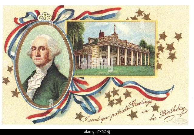 1900s USA George Washington Greetings Card - Stock Image