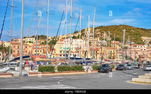 La Maddalena, view of the town and harbor,  La Maddalena Island, La Maddalena Archipelago, Sardinia, Italy - Stock-Bilder