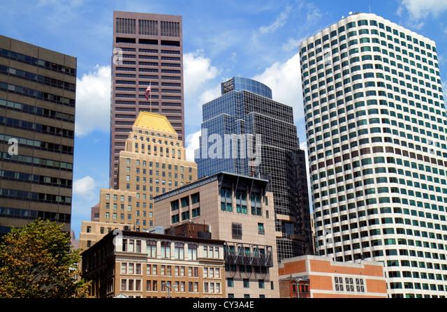 Boston Massachusetts downtown city skyline skyscrapers modern older new historic - Stock Image