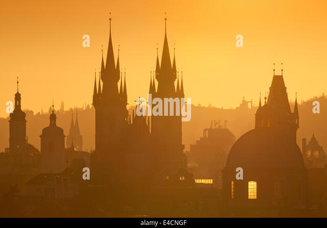 Czech Republic, Prague - Spires of the Old Town at Sunrise - Stock Image