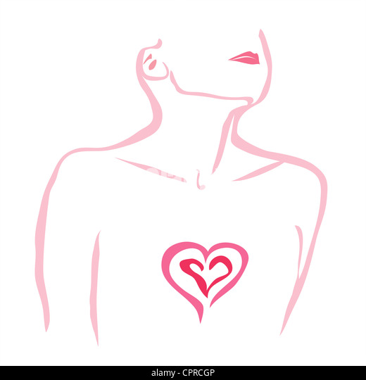Heartache. Woman with her heart exposed. - Stock Image