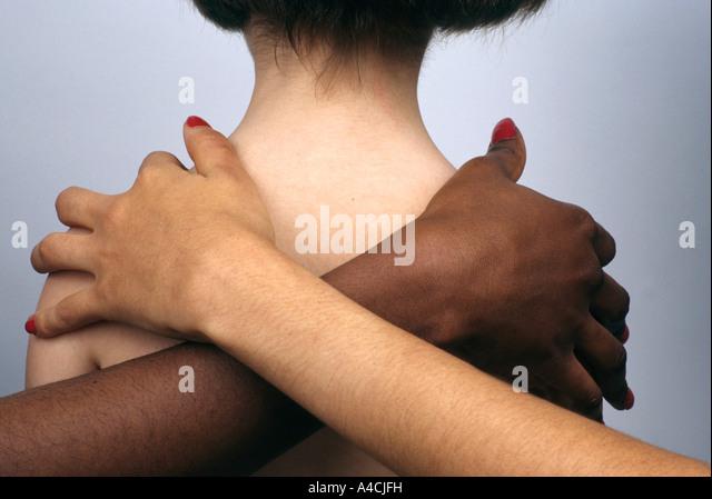 Contrast in different skin tone colours / cultures - diversity / integration / racism / multiracial concept - Stock-Bilder