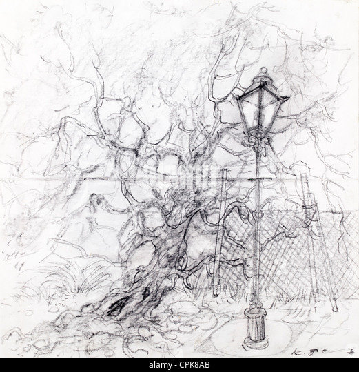 Lamp post and tree - charcoal on paper by Kurt Tessmann - Stock Image