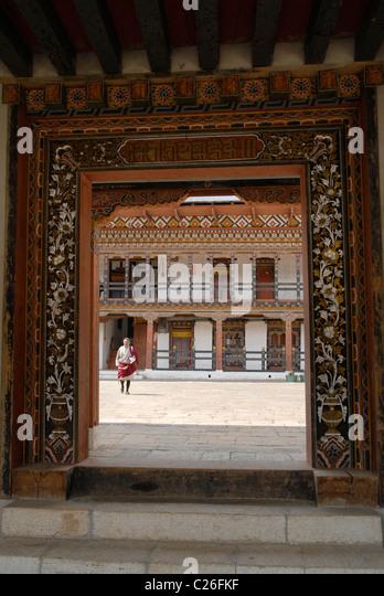 Entrance into the Dzong, Trashiyangtse, East Bhutan - Stock Image