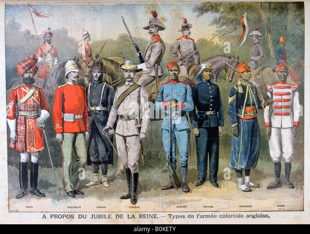 Military uniforms of the British colonial army, 1897. Artist: Henri Meyer - Stock Image