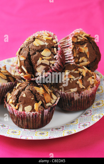 Chocolate and almond muffins - Stock Image