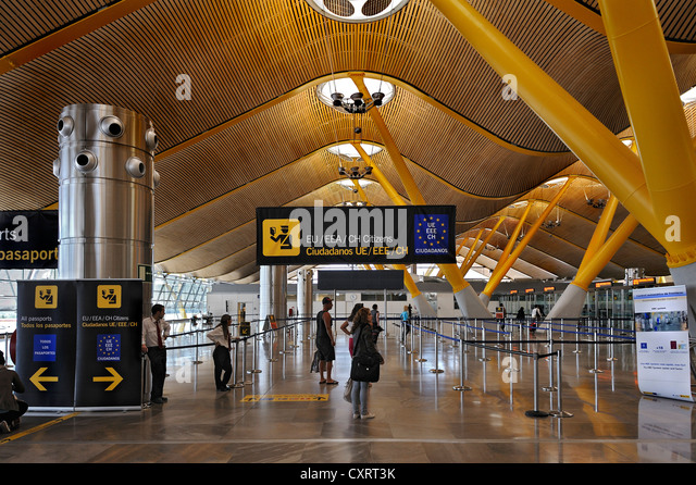 Exit for EU citizens at Madrid-Barajas Airport, Madrid, Spain, Europe - Stock Image