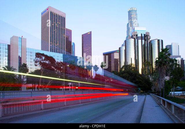 The 110 Harbour Freeway and Downtown Los Angeles skyline, Los Angeles, California, United States of America, North - Stock Image