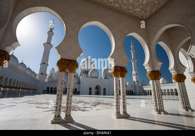 Sheikh Zayed mosque domes minaret tower rook Islam mosque religion columns Abu Dhabi UAE United Arab Emirates Middle - Stock-Bilder