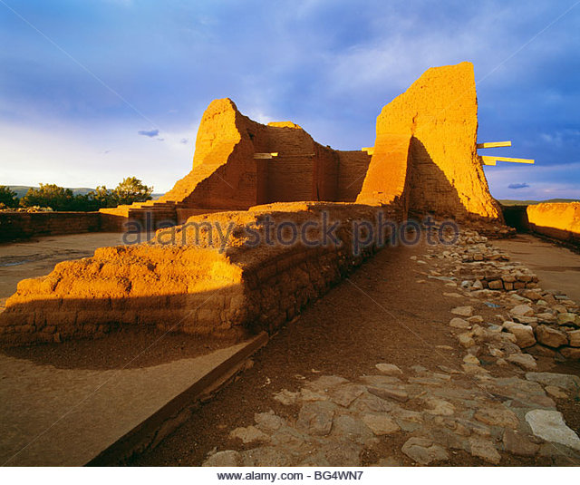 Ruins of mission church at Pecos National Historical Park, New Mexico. - Stock Image