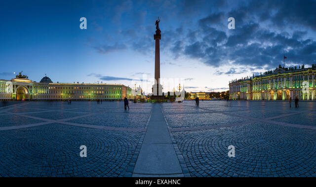 Palace Square, Alexander Column and the Hermitage, Winter Palace, UNESCO World Heritage Site, St. Petersburg, Russia, - Stock Image