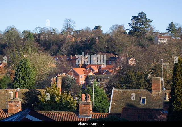 Woodbridge Houses Roof tops Suffolk England - Stock Image