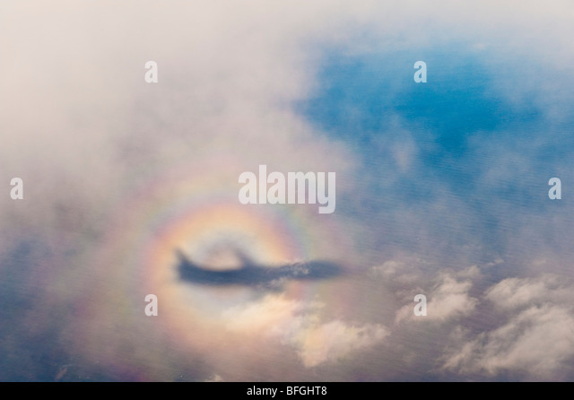 The Glory of the Pilot, an optical phenomenon similar to a rainbow. Sometimes called simply a 'Glory' - Stock Image