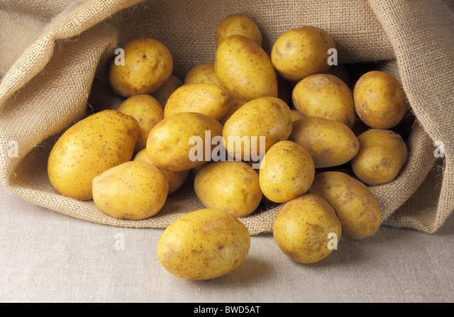 Sack of potatoes - Stock Image