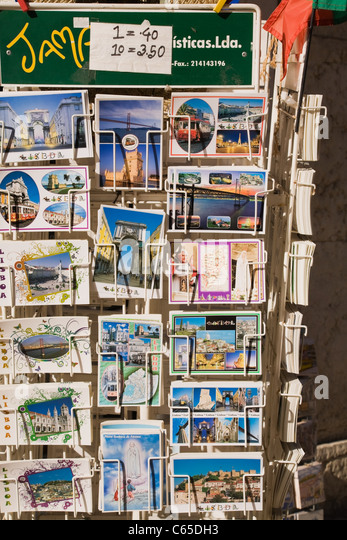 Postcards for sale, Lisbon, Portugal - Stock Image