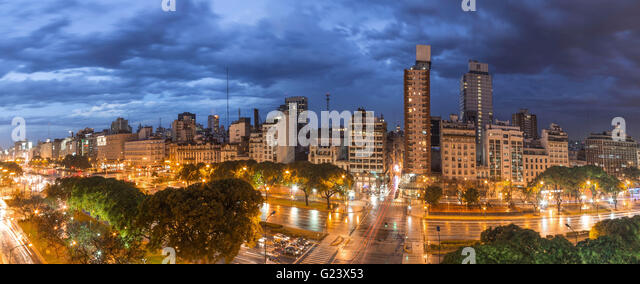 Panorama Avenida 9 de Julio at night,   Buenos Aires, Argentina - Stock Image