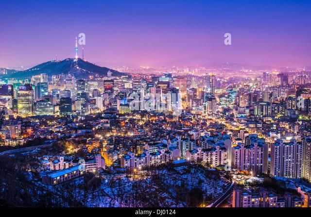 Seoul, South Korea evening skyline. - Stock Image