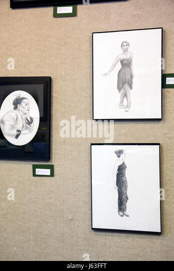 Indiana Chesterton Chesterton Art Center local artists framed pencil drawing figure woman exhibit gallery portrait - Stock Image