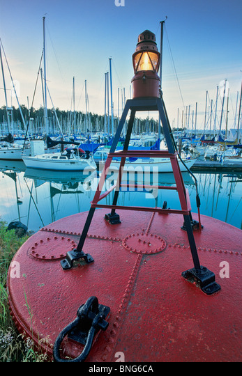 Beacon of a Buoy, Sidney, Victoria, Vancouver Island, British Columbia, Canada - Stock Image