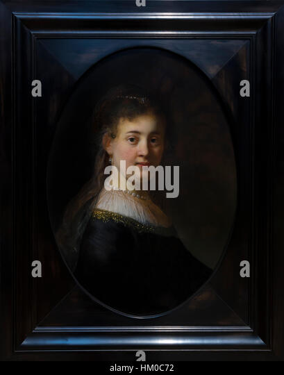 Young Woman in Fancy Dress, by Rembrandt, 1633, oil on panel, Rijksmuseum, Amsterdam, Netherlands, Europe, - Stock Image