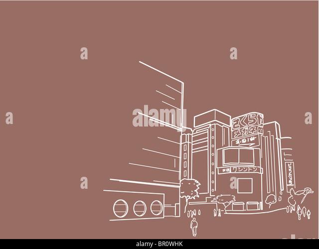 An illustration of Tokyo city scene - Stock-Bilder