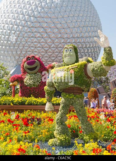 Buzz Lightyear Topiary plant at Epcot, Disney World, Florida, USA. - Stock Image