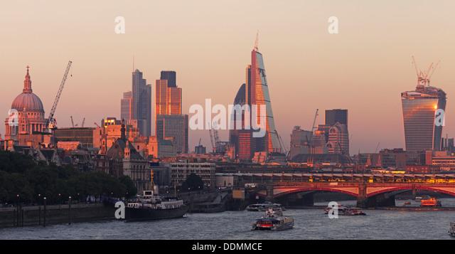 River Thames - City of London skyline - Stock Image