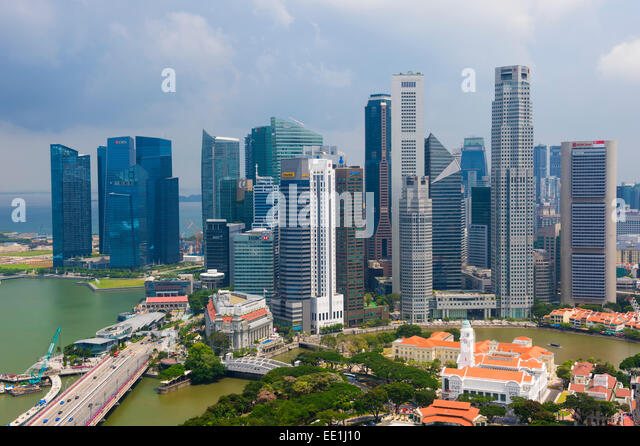 Downtown center financial district, Singapore, Southeast Asia, Asia - Stock Image