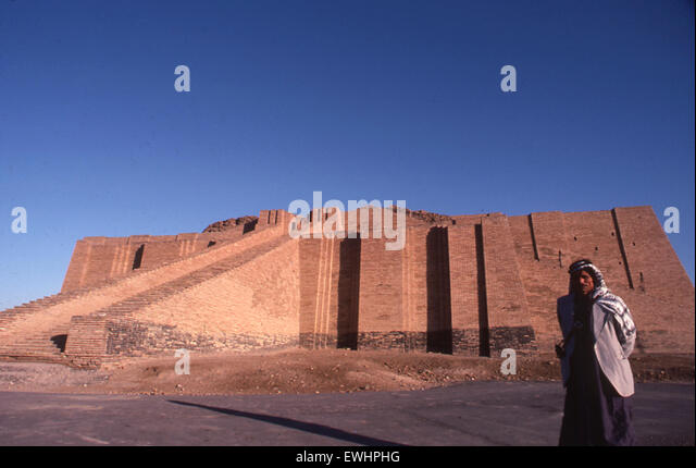 Ziggarat of Ur of the Chaldees ancient Sumerian site in Southern Iraq Middle East - Stock Image