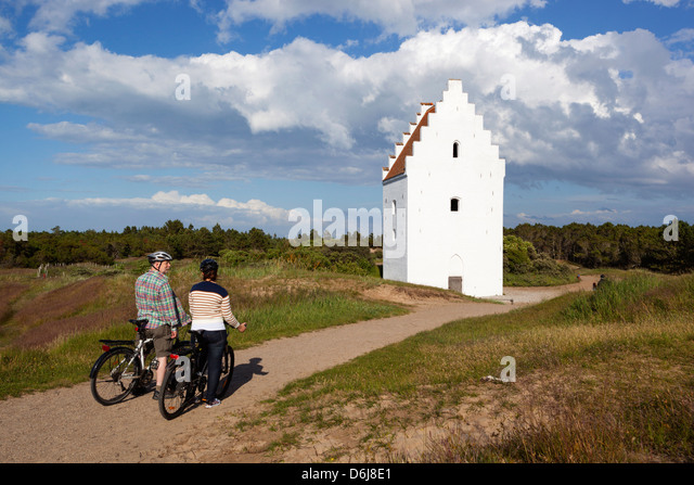 Den Tilsandede Kirke (Buried Church) buried by sand drifts, Skagen, Jutland, Denmark, Scandinavia, Europe - Stock Image