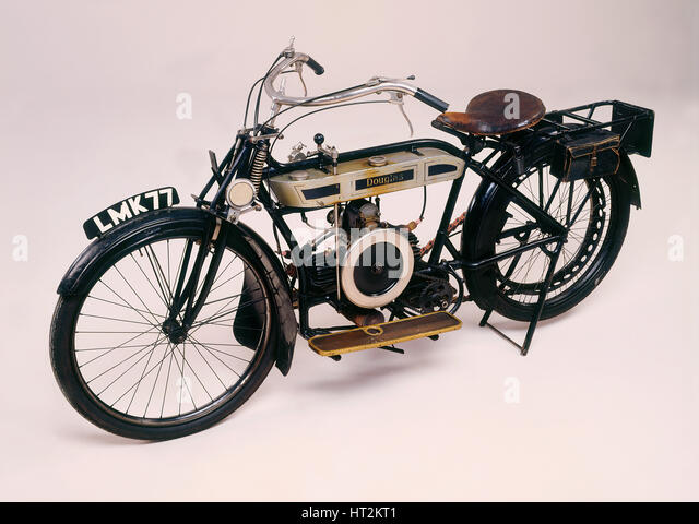 1913 Douglas motorcycle. Artist: Unknown. - Stock Image