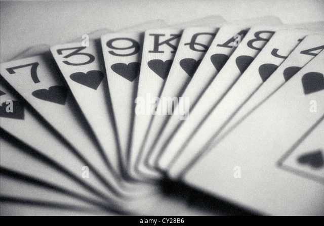 hand of playing cards with all hearts, ©mak - Stock Image