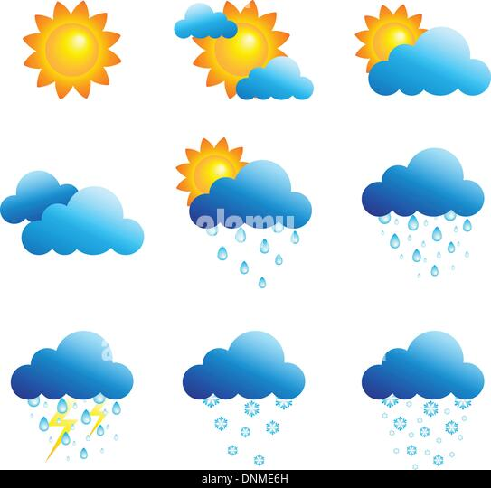 A vector illustration of different weather icons - Stock Image