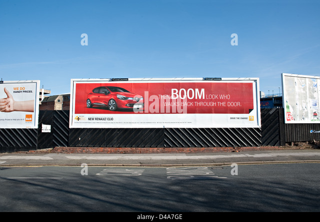 Several large advertising billboards, UK. - Stock Image