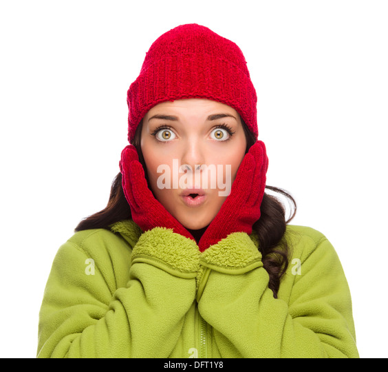 Beautiful Mixed Race Woman Wearing Winter Hat and Gloves Isolated on a White Background. - Stock Image